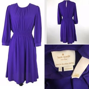 Kate Spade Zari shirred waist 3/4 sleeve dress